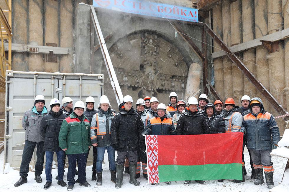 В Минске ТПМК «Алеся» прошел 1834 м новой линии метро
